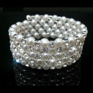 Jewelry - Bridal Bracelet Pearl Crystal 5 Row Silver